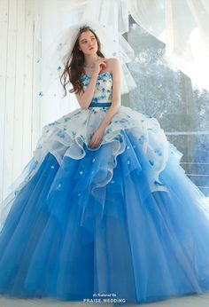 This dreamy blue ball gown from Kiyoko Hata featuring flower appliques and airy layers is taking our breath away! Lovely Dresses, Beautiful Gowns, Elegant Dresses, Beautiful Outfits, Blue Ball Gowns, Ball Gown Dresses, Prom Dresses, Wedding Dresses, Wedding Dress Patterns