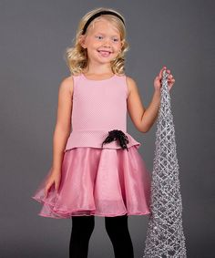 Look at this Mia Belle Baby Pink Organza Peplum Dress - Toddler & Girls on #zulily today!