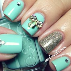 Mint  Silver nails with glitters, bow on nails, nails design, summer spring nails