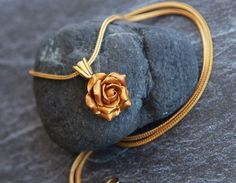 Gold rose pendant necklace Chain pendant rose Polymer clay pendant Gold chain Set gold roses Jewelry for women Gold jewelry Floral jewelry