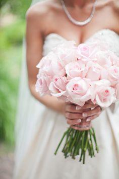 pink rose bouquet. wedding flowers.