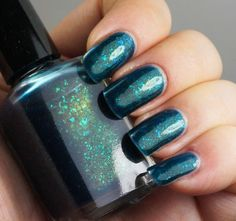 Acid Ocean - 15ml full - deep blue/aqua with green flakies & shimmer - nail polish by Indigo Bananas