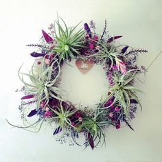 air plant wreath // plum  //  tillandsia by robincharlotte by peacocktaco on Etsy https://www.etsy.com/listing/156520171/air-plant-wreath-plum-tillandsia-by