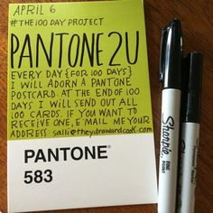 """""""#the100dayproject starts tomorrow!!! My idea of adorning a @pantone postcard will extend way past 100 days cuz at the end I'll be sending them out to 100 people who email me their address: salli@theydrawandcook.com"""" Photo taken by @theydrawandcook on Instagram, pinned via the InstaPin iOS App! http://www.instapinapp.com (04/05/2015)"""