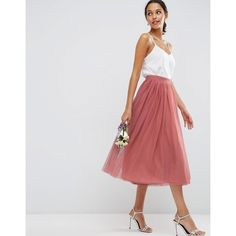 ASOS Tulle Prom Skirt with Multi Layers ($44) ❤ liked on Polyvore featuring skirts, pink, high waisted skirts, high rise skirts, high waisted knee length skirt, high-waisted skirts and tall skirts