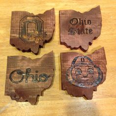Ohio State coasters with bottle opener by RoughCutsandSawdust