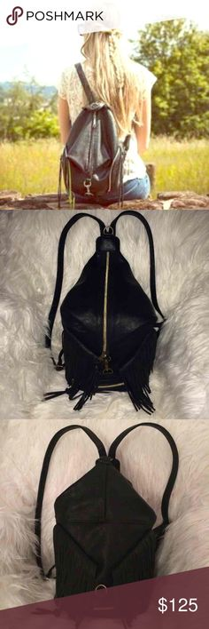 """💗PERFECT BACKPACK PURSE/FRINGE JULIAN BLACK NWT💗 *BEAUTIFUL BACKPACK PURSE! ADJUSTABLE CLIP CAN BE WORN DOWN W ZIPPER SHOWING OR WORN CLIPPED UP *STYLISH FRINGE *VERY VERSATILE,CAN BE WORN WITH ANYTHING FOR ANY EVENT! Vegan/faux Leather.Not Rebecca Minkoff  Aprox  10 ½""""W x 12 ½""""H x 5""""D  Tag:Sak Ventura,handbag,betsey Johnson,free people,anthropologie,Kate spade,Brandy Melville shoulder bag,tote,messenger travel vacation back pack,festival concert Michael Kors pink Victoria's Secret  Last 3…"""