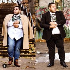 Chubsters love plus size men's clothing - mode homme grande taille мед Chubby Fashion, Big Men Fashion, Fall Fashion Outfits, Mens Fashion Suits, Casual Winter Outfits, Look Fashion, Guy Outfits, Fat Fashion, Plus Size Mens Clothing