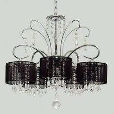 lustre preto cristal transparente 5 braços ø53 pendente sala
