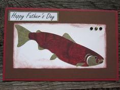 Happy Fathers Day Salmon or trout Fish Handmade Card via Etsy