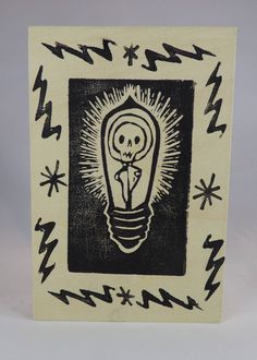Skeleton Night Light Glow in the Dark Art Small One of a Kind Linocut on Wood by craftyhag on Etsy