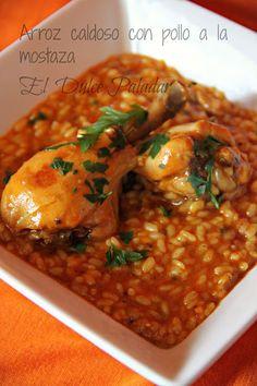 Arroz caldoso con pollo a la mostaza - El dulce paladar
