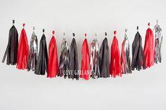 Black Red Silver Tassel Garland Black Red Tissue Garland
