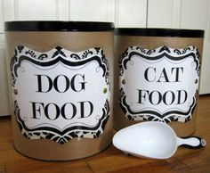 Big popcorn cans (like the ones you get during the holidays) to store pet food or treats. I love these to store my potato chips and miscellaneous miniature candies also!