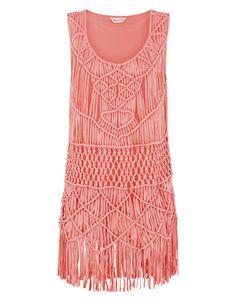 Macrame Vest Dress | Pink | Accessorize