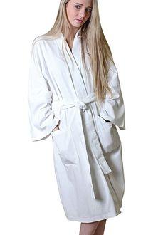 Pure Organic Cotton Knit Spa and Bath robe, Kimono Style, Super Soft, Non-Toxic at Amazon Women's Clothing store: