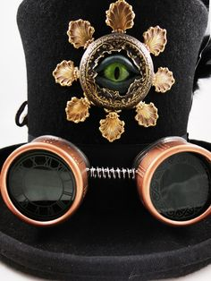 Steampunk Hat- Black Top Hat in Wool Felt Size Large -The Dr Brassy Hat with Sightmares Eye by Dr Brassy Steampunk. $225.00, via Etsy.