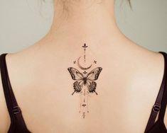 Back Tattoo Women Upper, Upper Back Tattoos, Little Tattoos, Mini Tattoos, Small Tattoos, Stomach Tattoos Women, Spine Tattoos For Women, Butterfly Back Tattoo, Butterfly Tattoos For Women