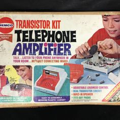 This is a rare and hard to find transistor kit - especially complete and unused. Amplifier speaker still wired to cardboard insert. Built In Speakers, Listening To You, Telephone, Contents, Circuit, Seal, Have Fun, Kit, Fun Time