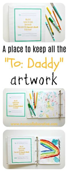Father's Day Free Printable. DIY art keepsake binder father's day craft. Easy Father's Day homemade gifts for dad from the kids.