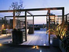 Bowles & Wyer, Roof terrace, London, trellis, lighting