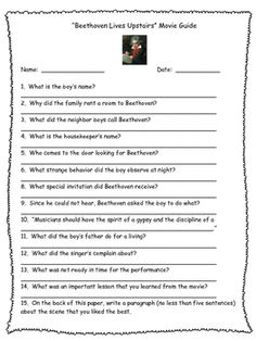 """An essential resource for all music teachers!I use this movie guide when my music students are watching """"Beethoven Lives Upstairs."""" There are fifteen short answer questions. A great way to keep the students focused during the movie! Another way to incorporate common core into your music classes!"""