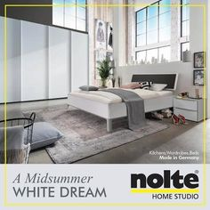 The polar white front of the Marcato wardrobe, Sonyo bed and cabinet draws more than just attention. Visit: www.noltehomestudio.in/bedrooms #Nolte #HomeStudioIndia #Home #NolteHomeStudio #designs #bedroomindia #india #Architects #bedrooms #cabinets #wardrobes #decor #interiors