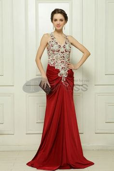 Tailing really stretch satin beaded red evening dress