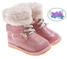 NEW Little Blue Lamb Girls Toddler Light Pink Fleece Lined Squeaky Boots / Shoes