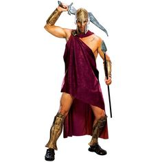 300 - Spartan Deluxe Adult Halloween Costume & Toga, Helmet, clasp, gauntlets