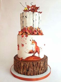 Autumn cake + tiered + red fox + leaves + birch + forest + woodland * likes the three different stunning Autumn wedding cakes (and 3 you can make yourself!A breathtaking, elegantly beautiful autumn (wedding) cake.Autumn by tomima (Baking Cookies Gorgeous Cakes, Pretty Cakes, Cute Cakes, Amazing Cakes, It's Amazing, Awesome, Autumn Wedding Cakes, Autumn Cake, Fall Wedding
