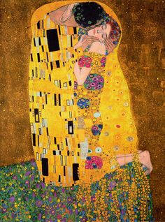 Gustav Klimt - The Kiss, oil and gold leaf on canvas, 1907–1908