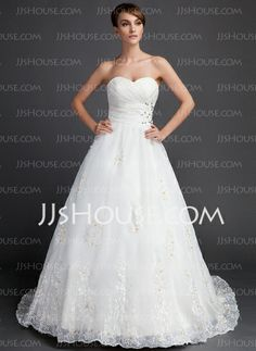 Wedding Dresses - $225.99 - Ball-Gown Sweetheart Sweep Train Organza Wedding Dress With Ruffle Lace Beadwork (002015822) http://jjshouse.com/Ball-Gown-Sweetheart-Sweep-Train-Organza-Wedding-Dress-With-Ruffle-Lace-Beadwork-002015822-g15822