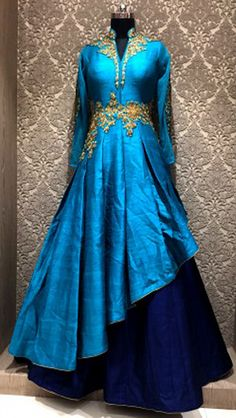 Sightly Navy And Sky Blue Raw Silk Party Wear Readymade Indo Western Gown Party Wear, Party Wear Indian Dresses, Party Wear Kurtis, Indian Gowns Dresses, Kurti Designs Party Wear, Dress Indian Style, Indian Fashion Dresses, Indian Designer Outfits, Indian Outfits