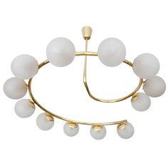 Stilnovo Glass Chandelier Brass Ceiling Fixture, Modernist Italian Design, 1960s | 1stdibs.com