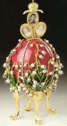 """(1)FABERGÉ eggs__ Art Nouveau__ Fabergé  """"LILIES of the VALLEY"""" Egg - 1898 - Made under the supervision of the Russian jeweller Peter Carl Fabergé - Enamel, gold, diamonds, rubies, pearls - Tsar Nicholas II, as a gift for Tsaritsa Alexandra Fyodorovna - @~ Mlle - http://www.faberge.com/news/57-afabergeggstudy.aspx"""
