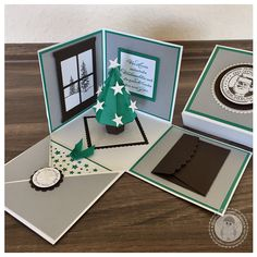 Stampin' Up! – Weihnachts-Explosionsbox – Bellas Stempelwelt – Explosionsbox… Stampin & # Up! – Christmas Explosion Box – Bella's Stamp World – Explosion box with Christmas tree, money present for Christmas Diy Cards, Christmas Cards, Stamp World, Stampin Up Weihnachten, Scrapbook Box, Exploding Box Card, Pink Christmas Tree, Pop Up Box Cards, Theme Noel