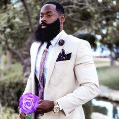 Stand out in our Purple and Gold Necktie Set Large Men Fashion, African Men Fashion, Mens Fashion, Ankara Fashion, Africa Fashion, African Women, Black Suit Men, Black Men Beards, Sharp Dressed Man