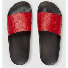 Gucci Signature Slide Sandal (£225) ❤ liked on Polyvore featuring shoes, sandals, gucci sandals, red shoes, leather footwear, red sandals and slide sandals