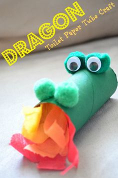 awesome dragon toilet paper tube recycled craft for kids - even perfect for Chinese New Year parties, imaginative knight & princess play, or turning into a stick puppet!