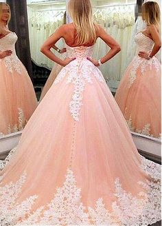 Junoesque Tulle Strapless Neckline Ball Gown Formal Dresses With Lace Appliques  Pretty Quinceanera Dresses b582469721b4