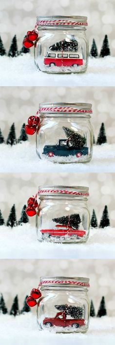 Mason Jar Snow Globes: Vintage Cars & Trucks in Mason Jars. These make the best Christmas decorations!