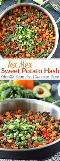 4 Points About Vintage And Standard Elizabethan Cooking Recipes! Make Good Use Of Taco Meat Leftovers By Giving This Easy Sweet Potato Tex Mex Hash Recipe A Try. A Tasty And Egg-Free Breakfast Option. Dairy Free Breakfasts, Gluten Free Recipes For Breakfast, Paleo Recipes, Real Food Recipes, Delicious Recipes, Sausage Recipes, Whole30 Ground Beef Recipes, Dairy Free Meals, Bison Recipes