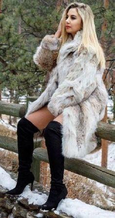 Fox Fur Coat, Fur Coats, Fur Fashion, Style Guides, Leather Boots, Sexy Women, Furs, Fashion Guide, Lynx