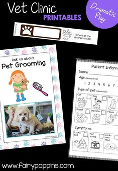 Veterinary Clinic dramatic play center and printables ~ Fairy Poppins Early Learning Activities, Play Based Learning, Children Activities, Kindergarten Centers, Preschool Kindergarten, Pretend Play, Role Play, Pet Vet, Dramatic Play Centers