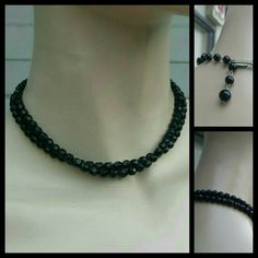 """Vintage Faceted Black Choker/Necklace-Pre 70s Beautiful black beads that are faceted so the light plays off of them. 14"""" as choker with 2.25"""" extender Jewelry Necklaces"""