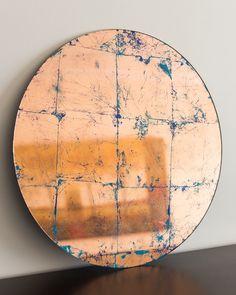 Verre Eglomise, hand made copper mirror. Glass gilding in copper leaf. Antique Mirror Tiles, Copper Mirror, Old Mirrors, Diy Mirror, Mirror Mirror, Copper Crafts, Copper Paint, Handmade Mirrors, Gold Leaf Art