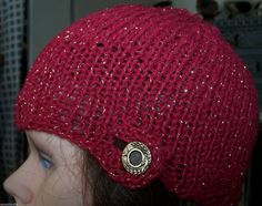 Beanie Hat Button Hand Knit Lightweight Fine Hand by NovaBlondie