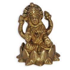Brass Statue of Goddess Laxmi Sitting in Lotus: Amazon.co.uk: Kitchen & Home