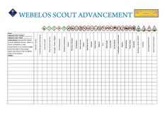 2016 WEBELOS WALL CHART OF NEW ADVENTURE BADGES FOR RECORD KEEPING AND TRACKING AND ACKNOWLEDGEMENT.